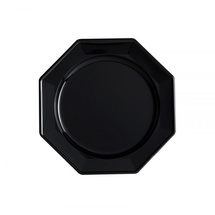 Lot de 8 assiettes à dessert jetables octogonales noir 16,5 cm