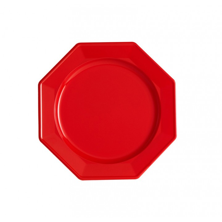 Lot de 8 assiettes à dessert jetables octogonales rouge 16,5 cm