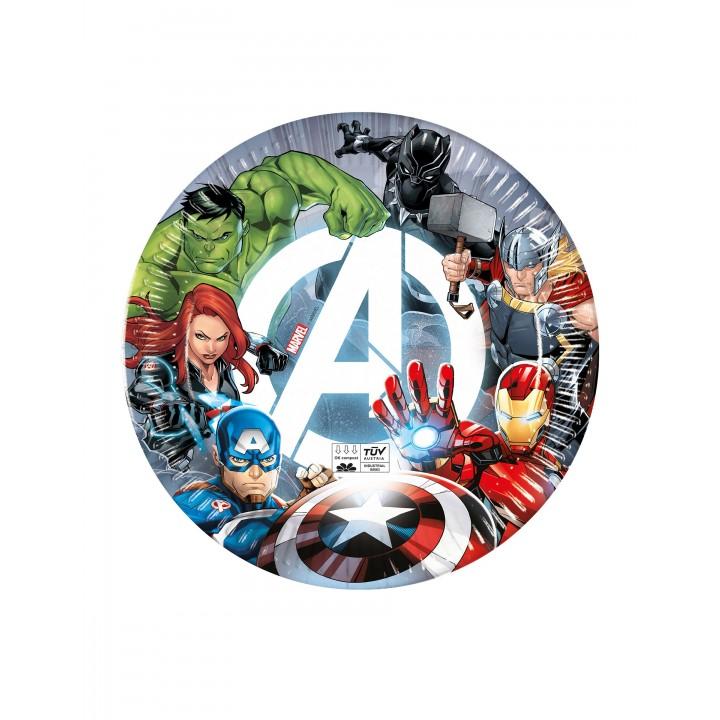 Lot de 8 assiettes jetables Avengers en carton 23 cm