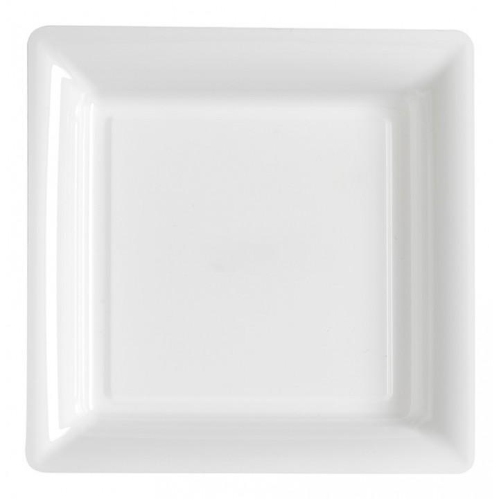 Lot de 8 assiettes jetables carrées blanc 30,5 cm