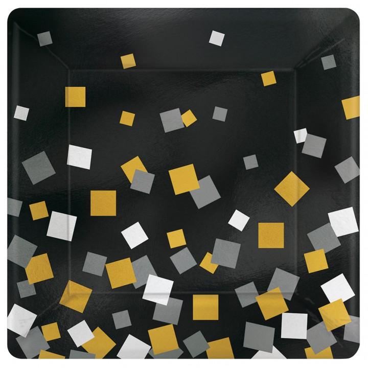 Lot de 8 assiettes jetables carrées en carton Sparkling Confetti 18 cm