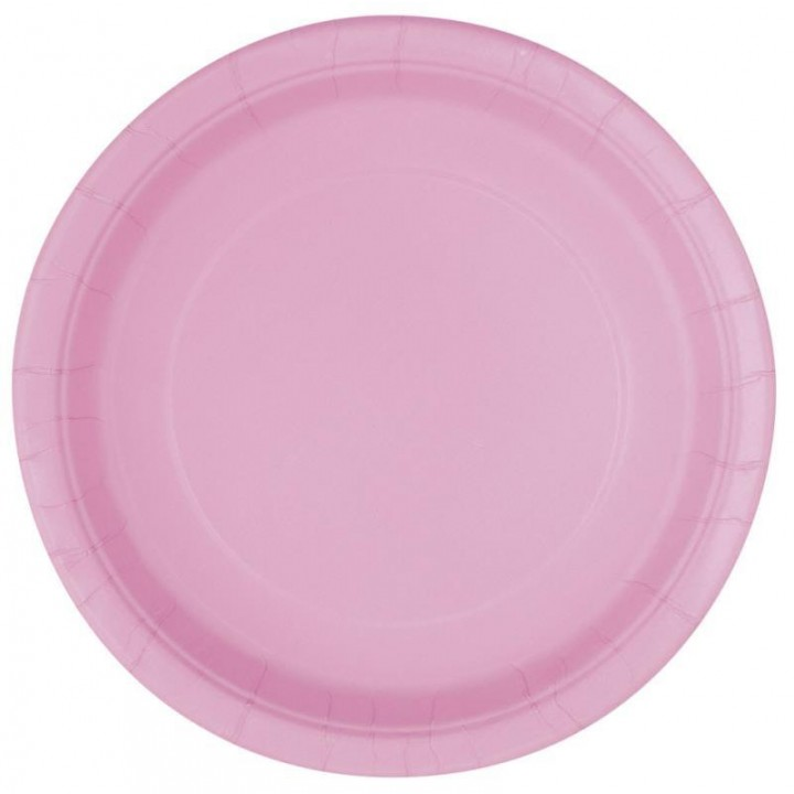 Lot de 8 assiettes jetables design en plastique rose nacré 20 cm