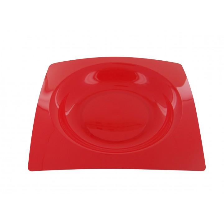 Lot de 8 assiettes jetables design en plastique rouge 20 cm