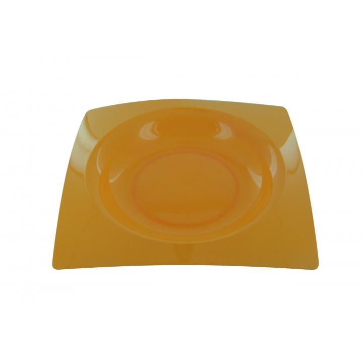Lot de 8 assiettes jetablesdesign en plastique mandarine 23,5 cm