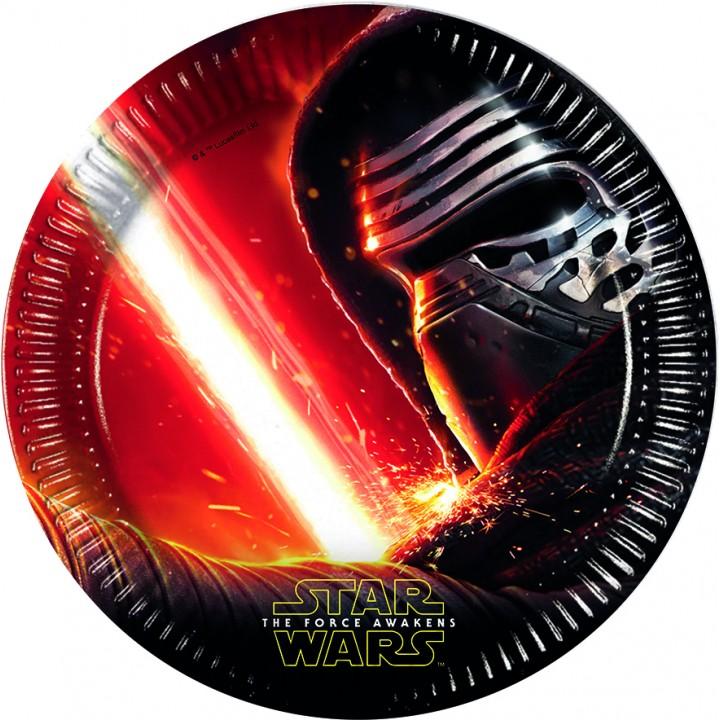 Lot de 8 assiettes Star Wars VII en carton 23 cm