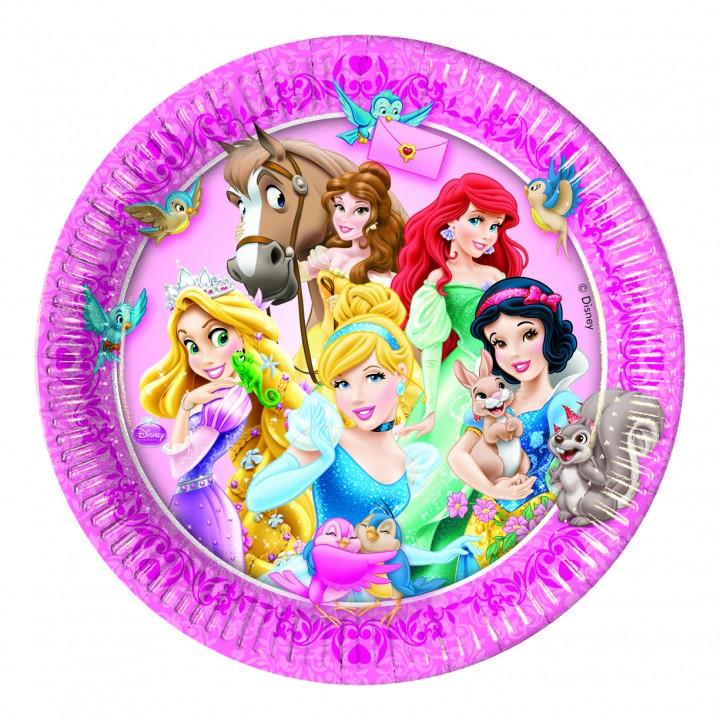 Lot de 8 asssiettes jetables en carton Princesses et animaux