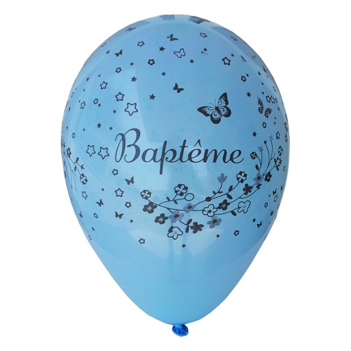 Lot de 8 ballons de baudruche en latex bleus Baptême D 30 cm