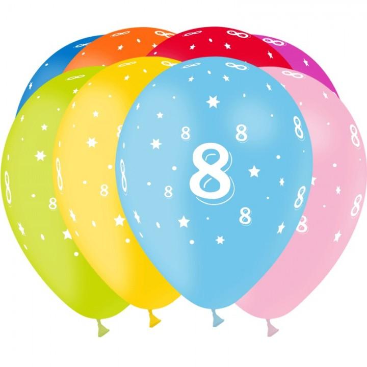 Lot de 8 ballons de baudruche en latex Chiffre 8 D 30 cm