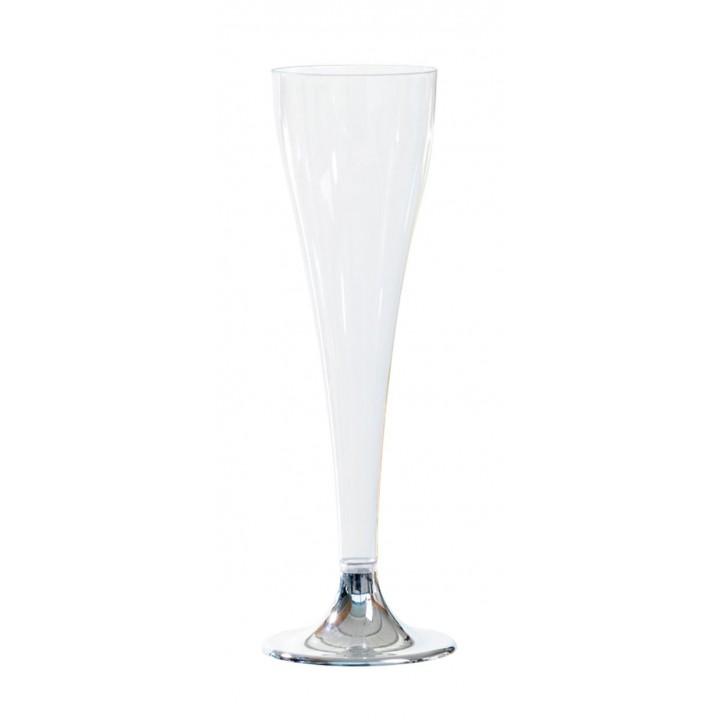 Lot de 8 flûtes à champagne jetables pied métallisé Argent 10 cl