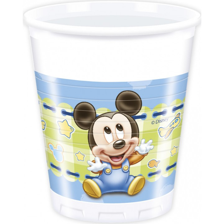 Lot de 8 gobelelets jetables Baby Mickey en plastique 20 cl