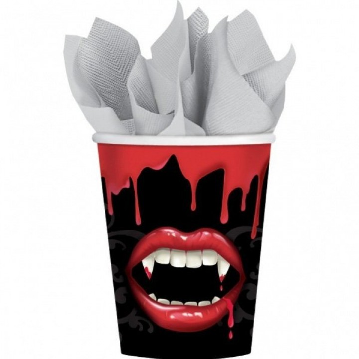 Lot de 8 gobelets jetables Bouche de vampire halloween en carton 26,6 cl