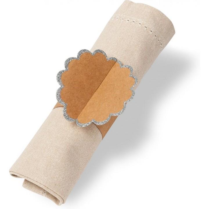 Lot de 8 ronds de serviettes Kraft bord argent pailleté 23 x 7 cm