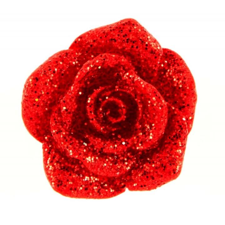 Lot de 8 stickers Rose rouge pailleté D 2 cm