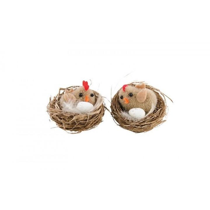 Lot de deux poussins dans un nid 4,5 cm