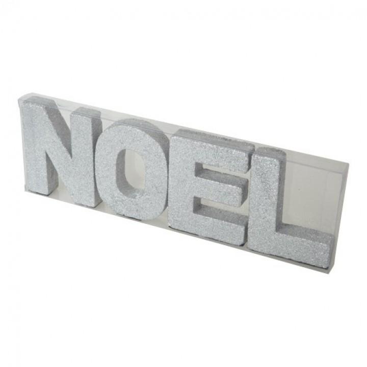 Lot de lettres NOEL argent 10 cm x 32cm