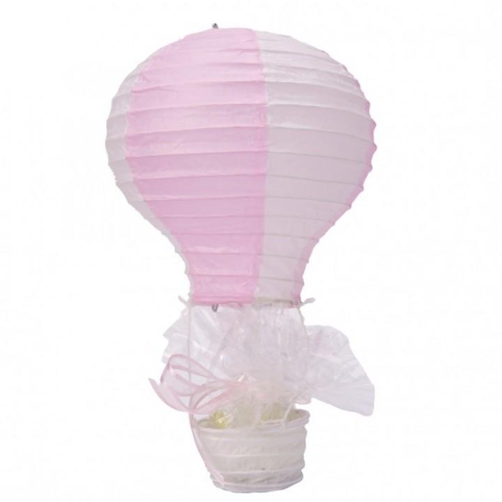Lanterne montgolfière rose et blanc en papier 40 cm