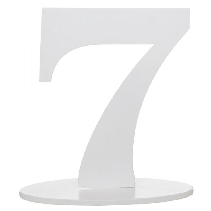 Marque table 7 pailleté  argent sur socle 20 cm