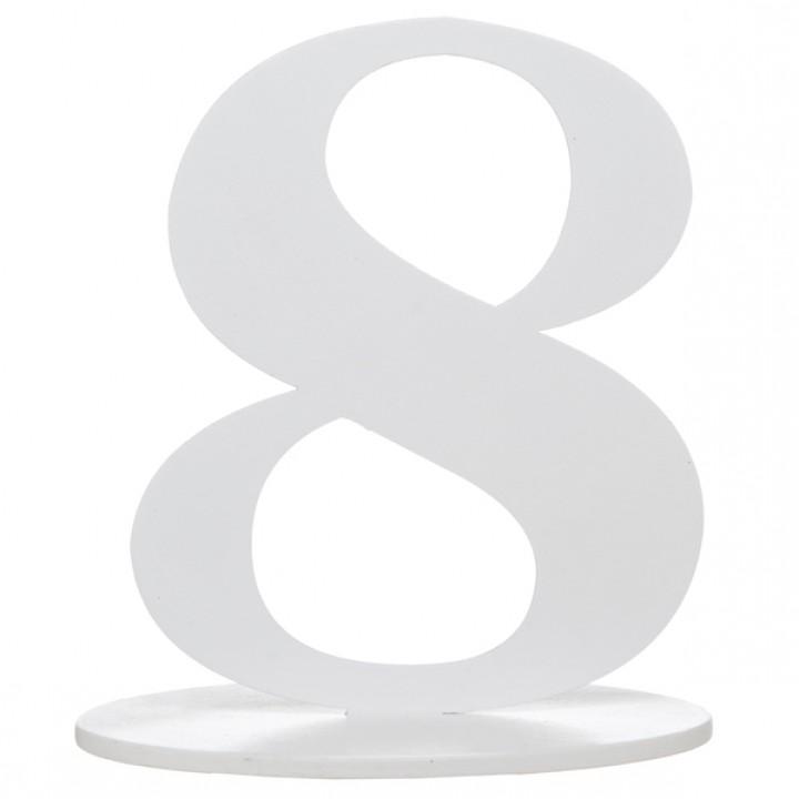 Marque table 8 pailleté  argent sur socle 20 cm