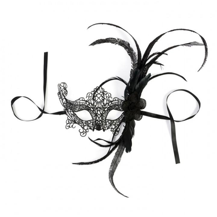 Masque à plumes noir