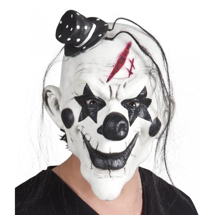 Masque Clown psycho en latex avec cheveux Halloween