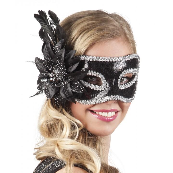 Masque Venice Fiore noir avec fleur