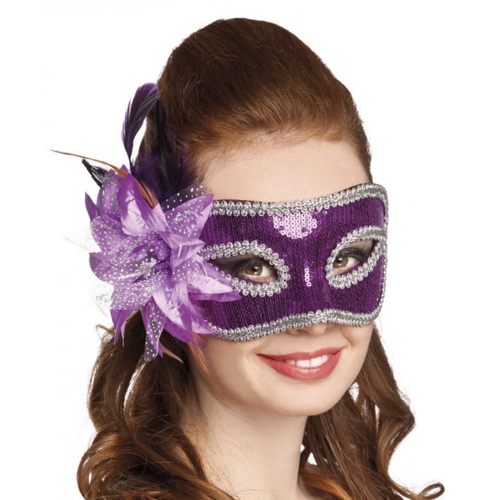 Masque Venice Fiore violet avec fleur