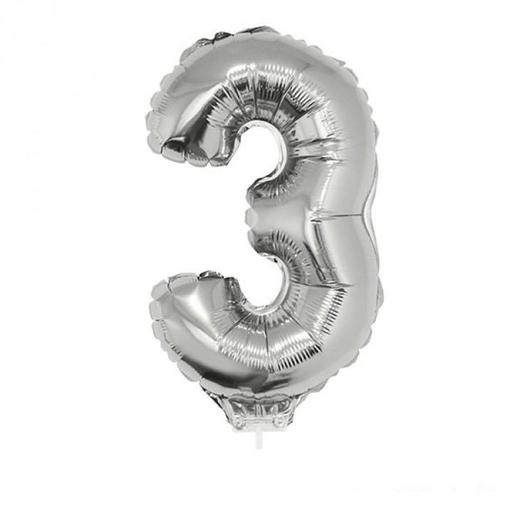 Mini Ballon chiffre 3 aluminium argent