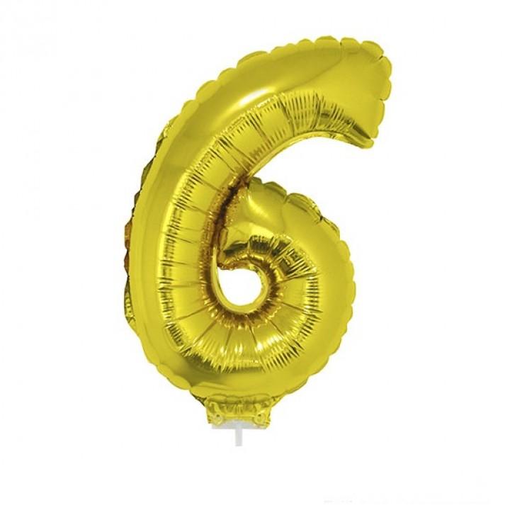 Mini Ballon chiffre 6 aluminium or