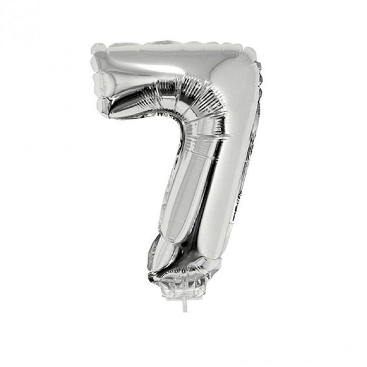 Mini Ballon chiffre 7 aluminium argent