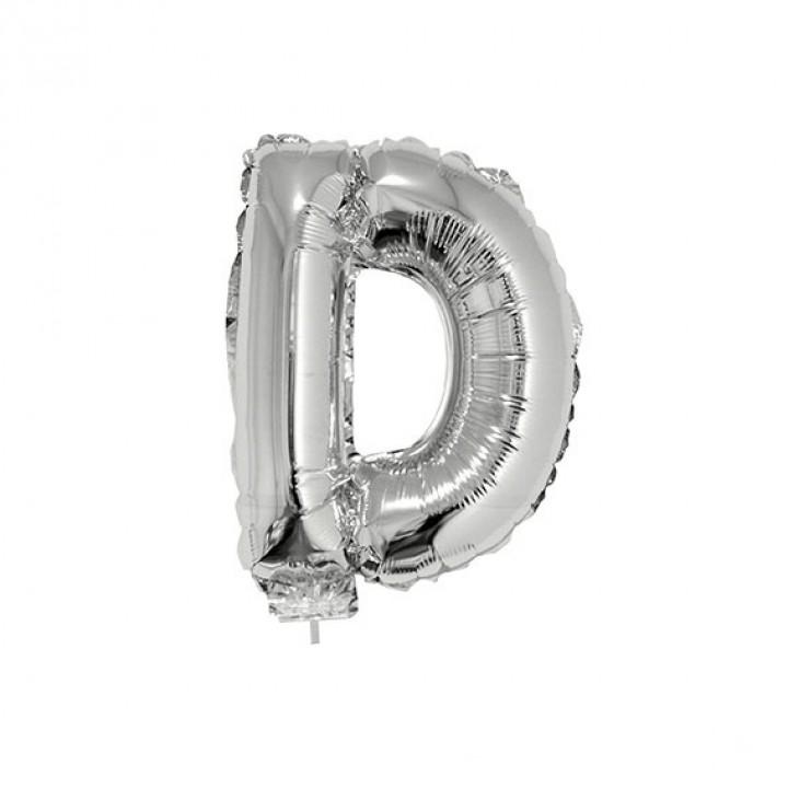 Mini Ballon Lettre D aluminium argent