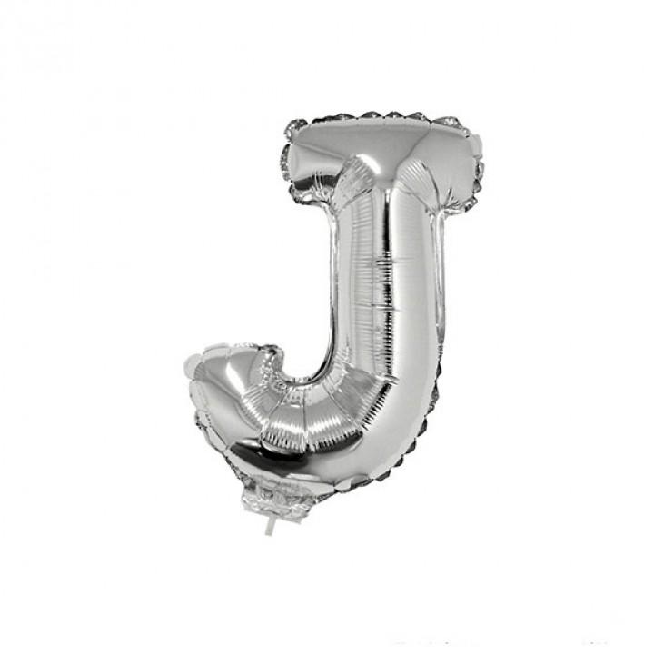 Mini Ballon Lettre J aluminium argent