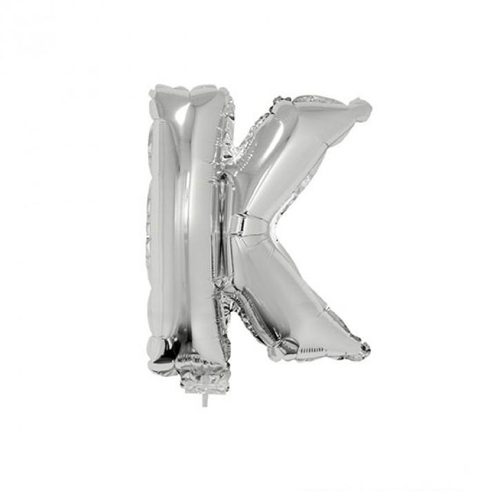 Mini Ballon Lettre K aluminium argent