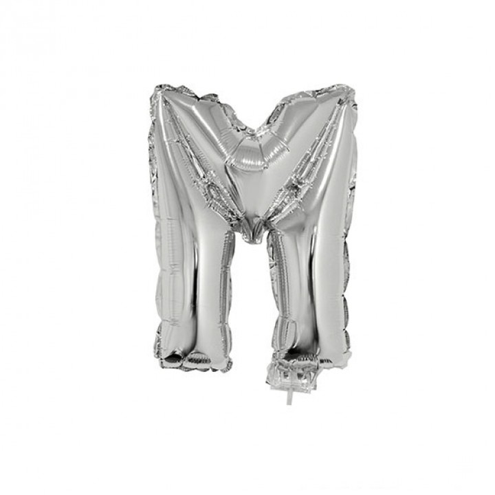 Mini Ballon Lettre M aluminium argent