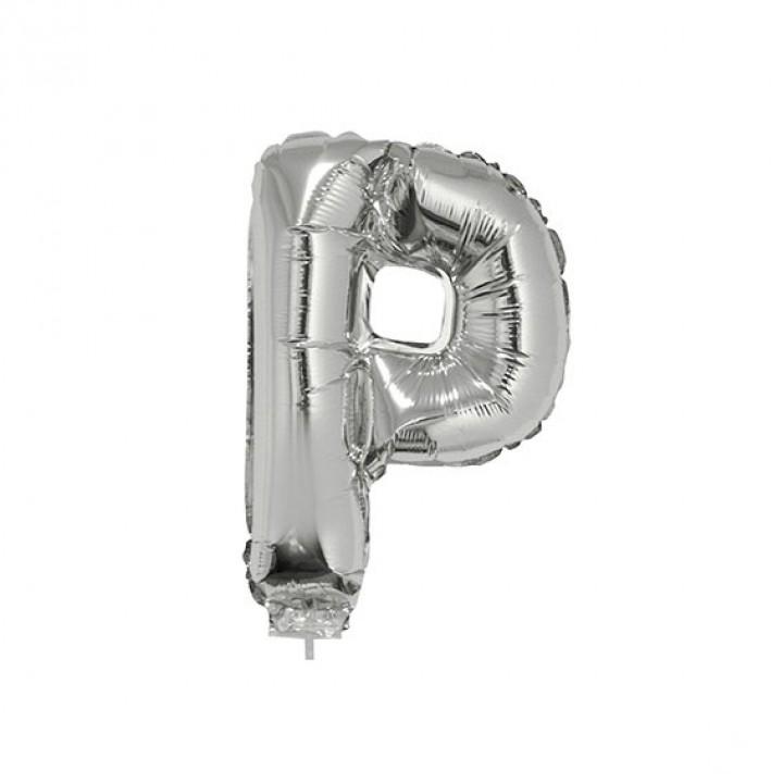 Mini Ballon Lettre P aluminium argent