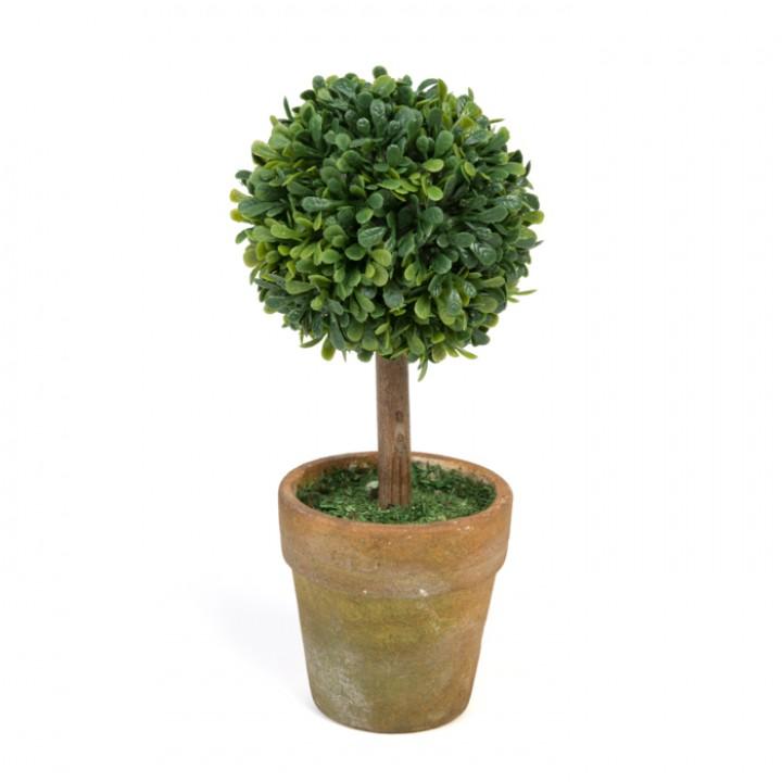 Mini Plante artificielle boule buis verte 6 x 6 x 15 cm