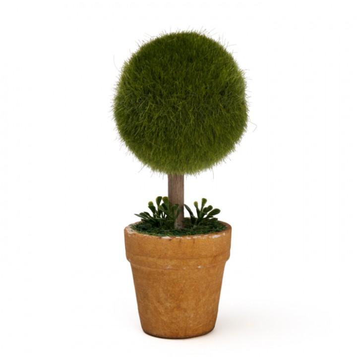 Mini Plante artificielle boule mousse verte 6 x 6 x 15 cm