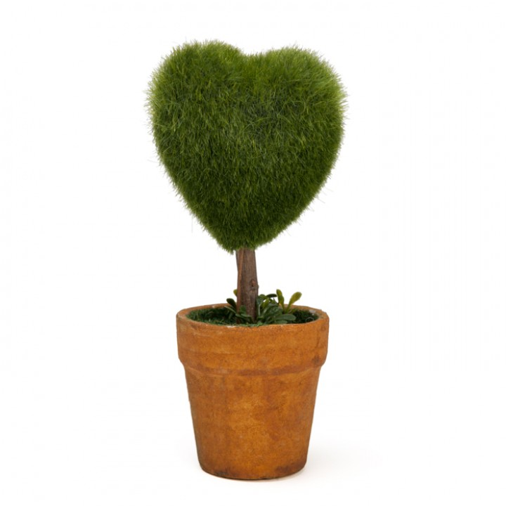 Mini Plante artificielle cœur mousse vert 7,5 x 5,5 x 15 cm