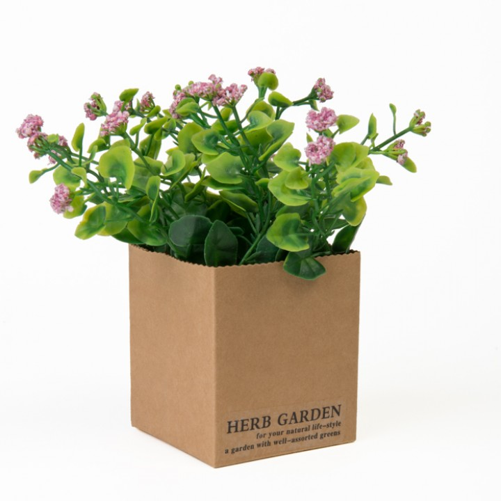 Mini Plante verte artificielle rose 12 x 12 x 15 cm