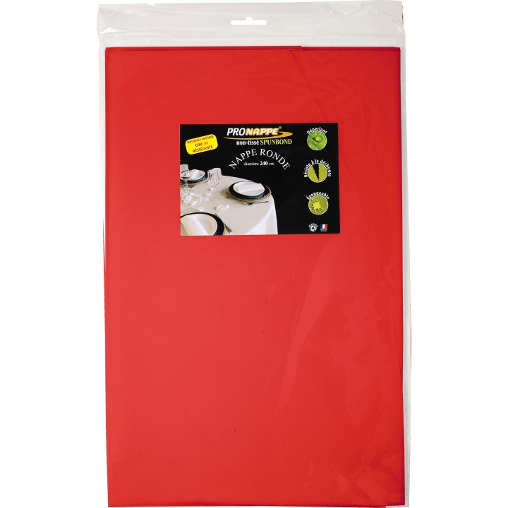 Nappe ronde rouge papier 240 cm