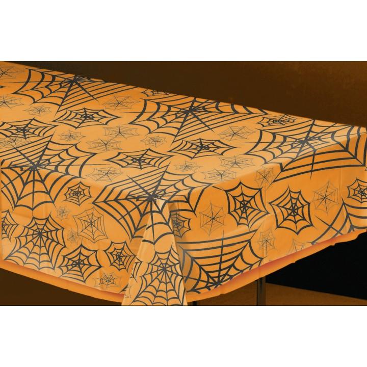 Nappe transparente motif toile d'araignée Halloween 2,70m x 1,40 m