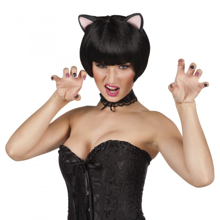 Oreilles de chat simil cuir noir