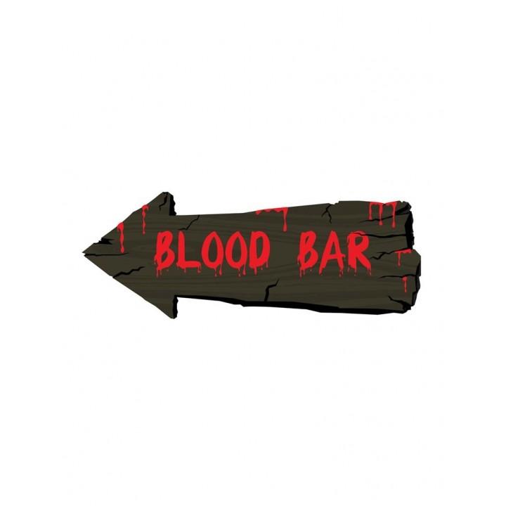 Panneau Blood Bar Halloween 50 x 20 cm