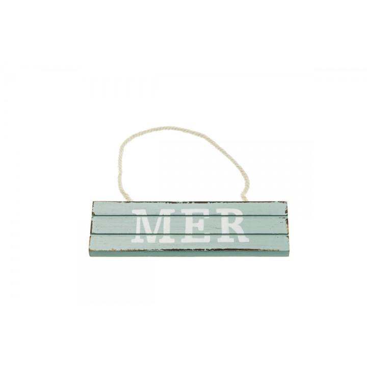 Pancarte Mer à suspendre blanc/bleu15 x 4,5 cm