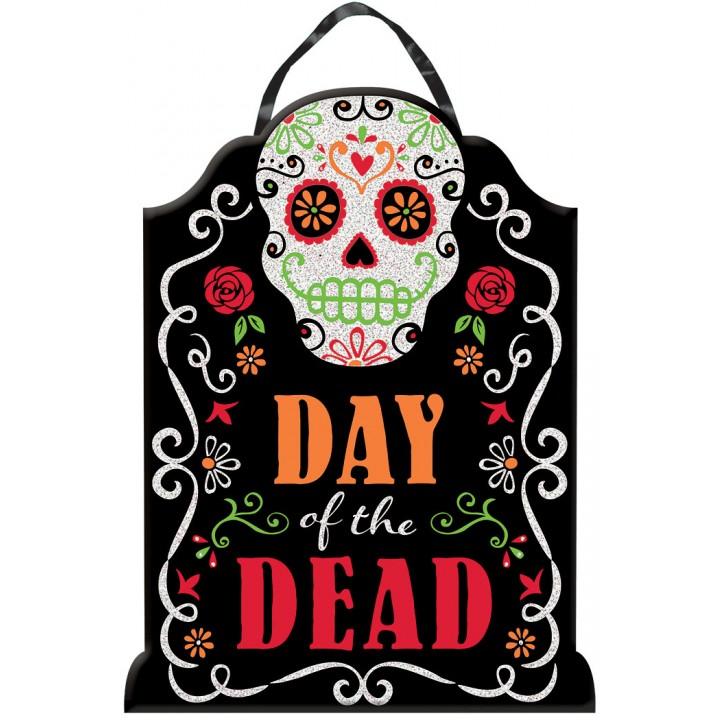 Panneau Jour des Morts à suspendre Halloween 40,6 cm x 30,4 cm