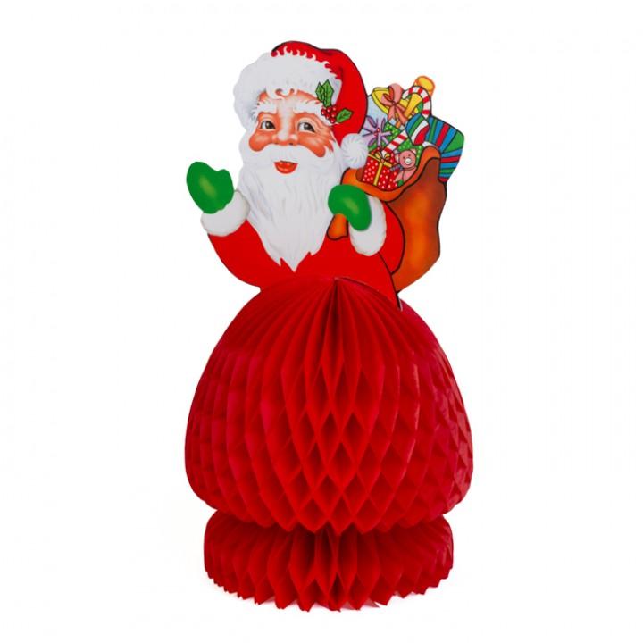 Père Noël en papier alvéolé rouge GM 35 cm