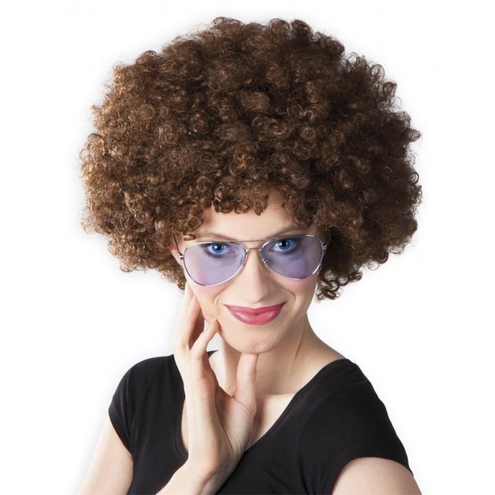 Perruque afro châtain