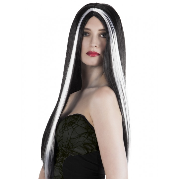 Perruque Aurora cheveux longs halloween noirs et blancs