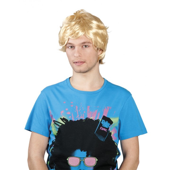 Perruque cheveux courts avec mèche pour homme blonde
