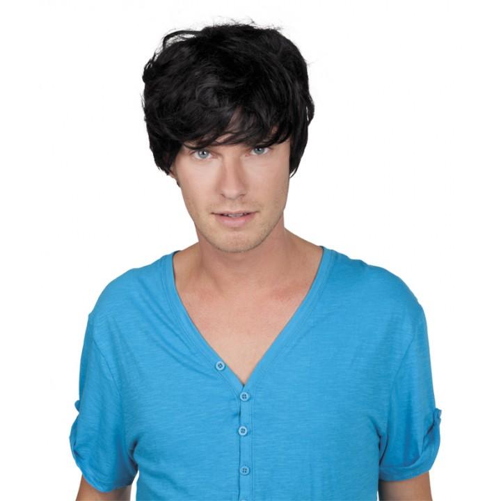 Perruque cheveux courts avec mèche pour homme noire