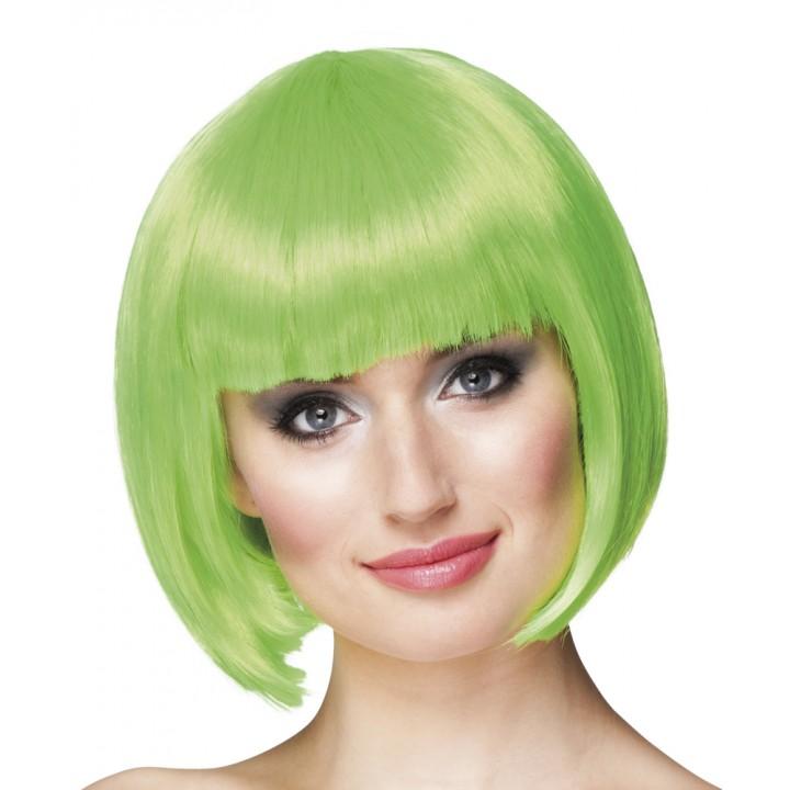 Perruque courte cabaret pour femme verte